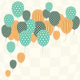 Card with flying balloons in retro style Stock Photo