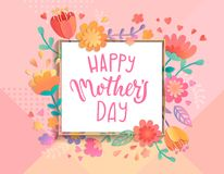 Card For Happy Mother`s Day. Stock Image