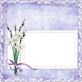 Card For Invitation Or Congratulation With Flowers Stock Photo