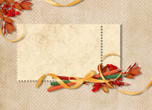 Card For The Holiday With Autumn Leaves Stock Photography