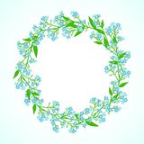 Card with forget me not flowers wreath Stock Image