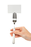 Card with a fork Royalty Free Stock Photography
