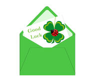 Card with four leaf clover Stock Photo
