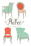 Card with four retro armchairs royalty free illustration
