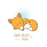 Card with fox. Card with cute cartoon sleeping fox. Little funny animal. Bedtime. Children's illustration. Vector image Royalty Free Stock Photos