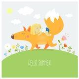 Card with fox and little girl. Summer card with cute cartoon  fox and the little girl. Walk two friends. Vector image. Children's illustration Stock Images