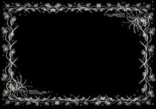 Card and frame background flower garden abstract art. Computer graphic paint from my brush pencil stroke design, black and white color for you can change the Royalty Free Stock Photo