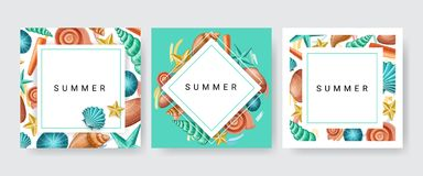 Card frame collection set with shell and starfish Stock Photography