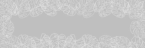 Card with a frame for a dough of tropical leaves on a gray background for advertising banners. Stock Photo
