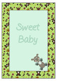Card frame with green background, nice teddy-bears and colourful. Paws - vector illustration Stock Photos