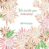 Card with fresh flowers invitation to a great Royalty Free Stock Images