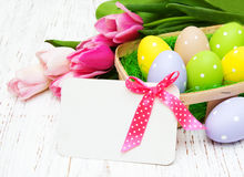 Card with fresh flowers tulips Stock Photography