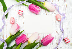 Card with fresh flowers tulips Royalty Free Stock Photography