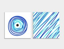 Card front and back with blue evil eye vector Royalty Free Stock Photos