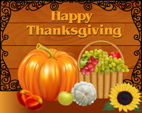 Card fruit basket and pumpkin on Thanksgiving Day Stock Photo