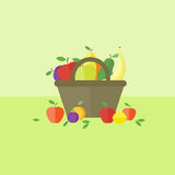 Card with fruits in flat style. Vector illustration. Card with basket with fruits on a table. Flat design vector illustration vector illustration