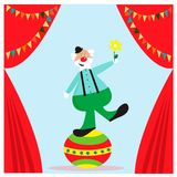 Card with funny clown on the ball. EPS 10 Royalty Free Stock Photo