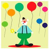 Card with funny clown with balloons. EPS 10 Stock Photography