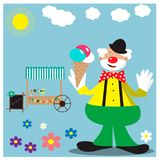 Card with funny clown with ice cream. EPS 10 Royalty Free Stock Photography