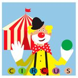 Card with funny clown juggling balls. EPS 10 Royalty Free Illustration