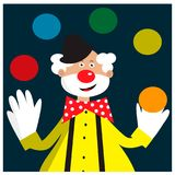 Card with funny clown juggling balls. EPS 10 Stock Photos