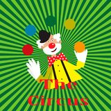 Card with funny clown juggling balls. EPS 10 Royalty Free Stock Photos