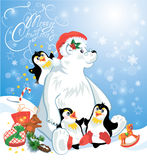 Card with funny penguins and polar bear Royalty Free Stock Images