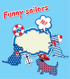 Card with funny scottish terrier dogs  - sailors,  Royalty Free Stock Photography