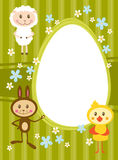 Card with funny sheep, rabbit and chicke Stock Image