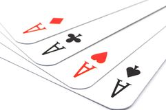 Card game. Poker card game with four aces showing success Stock Photography