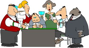 Card Game. This illustration depicts a group of people playing cards Royalty Free Stock Image