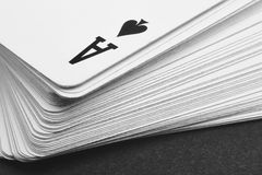 Card game with ace of spades detail. Black and white Royalty Free Stock Photo