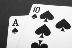 Card game with black jack detail. Black and white Stock Photo