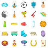Card game icons set, cartoon style Stock Image
