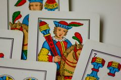 The card game. passes from families to New Year for fun at casinos. this is a Treviso bunch.  royalty free stock photo