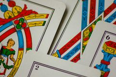 The card game. passes from families to New Year for fun at casinos. this is a Treviso bunch.  royalty free stock images