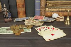 Card game poker. The winning set. Royal flash in poker Royalty Free Stock Photography