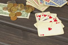 Card game poker. The winning set. Royal flash in poker Royalty Free Stock Images