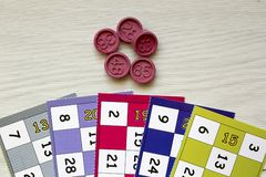 The Card game. Tombola bingo. Colorful cards stock photo