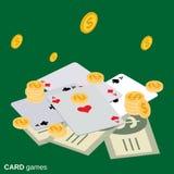 Card games vector illustration. Card games flat isometric vector illustration stock illustration