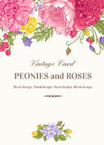 Card with garden flowers. Vintage floral card with garden flowers. Peonies, roses, sweet peas, bell. Romantic background. Vector illustration Stock Photography