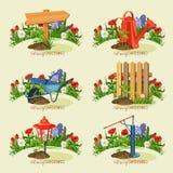 Card gardener set. Spring gardening. Royalty Free Stock Photos