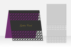 Card with geometric pattern for laser cutting. Silhouette design. Stock Photo