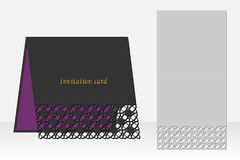 Card with geometric pattern for laser cutting. Silhouette design. Stock Photos