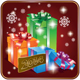Card with gift box. Christmas and New year card with gift box Royalty Free Stock Images