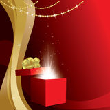 Card with gift box and gold decorations - vector Royalty Free Stock Image