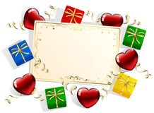 Card with gift boxes and hearts Stock Photography