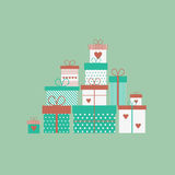 Card with gift boxes. Vector illustration. Caard with presents, gift boxes in flat style. Vector illustration vector illustration