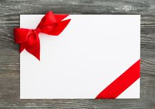 Card. Gift coupon ticket day bow blank Royalty Free Stock Photo