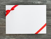 Card. Gift coupon ticket day bow blank Stock Photography